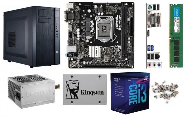 PC-Bausatz Dayline Business, H410M-H, Intel Core I3-10100, Leiser Kühler, 8 GB DDR4, 240GB SSD