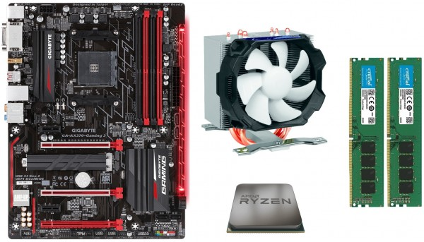 Mainboard-Bundle Gamer Ryzen, Gigabyte B450M Mainboard, AMD Ryzen 5 3600, 16GB DDR4 PC3000 Ki