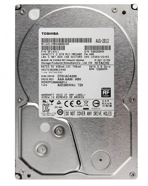 "Toshiba 2TB P300 High Performance 3,5"" (8,9cm) SATA3, 7200U, 64MB"